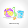 Doodle style illustration of beach ball and beach toys