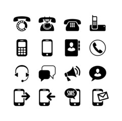 16 icons set. Сommunication, call, phone