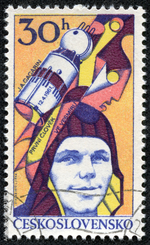 stamp shows Yuri Gagarin, Soviet cosmonaut, first man in space