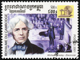 stamp shows image of english scientist Michael Faraday