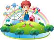A boy near an amusement park