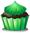 A cupcake with green icing
