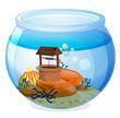 A wishing well inside the aquarium