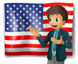 A boy presenting the USA flag