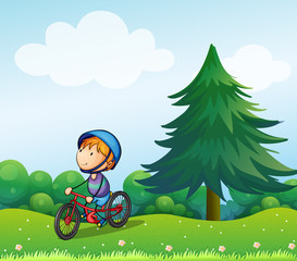 A boy with a safety helmet riding in his bike