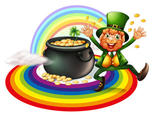 A man beside a pot of gold coins