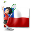 A tennis player with the Chile flag
