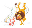 A lion dancing with musical notes