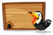A wooden empty board with a black bird