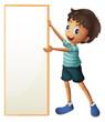 A boy holding a blank framed board