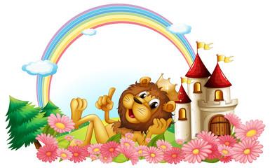 A lion wearing a crown beside the castle