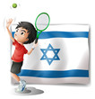 The flag of Israel and the tennis player