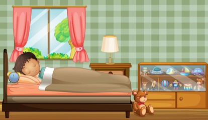 A boy sleeping soundly inside his room