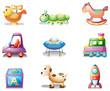 Nine different toys for children