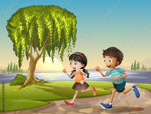 Two kids running together