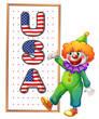 A clown beside the framed USA word