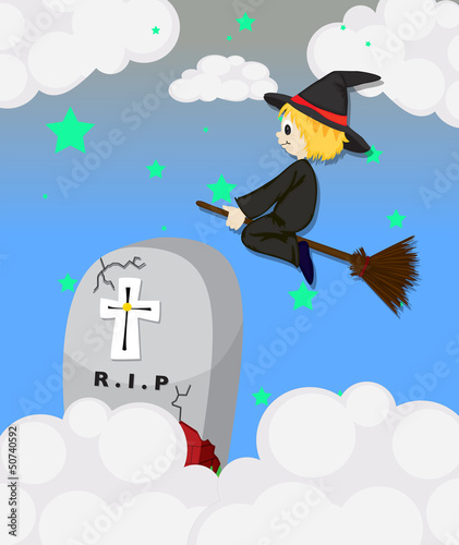 A witch at the cemetery