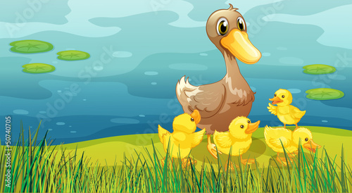 A duck and her ducklings at the riverbank