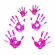 Hand prints of father, mother and child. Together concept.