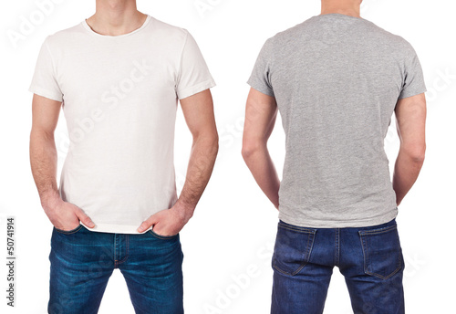 Front and back view of man wearing blank white and gray t-shirt