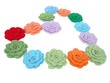 colorful crocheted flower heart