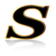 S アルファベット 金 黒