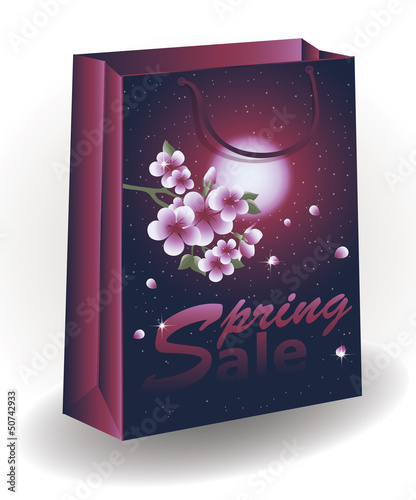 Spring Sale shopping bag, vector illustration