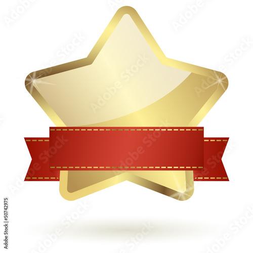 goldener Stern mit rotem Banner