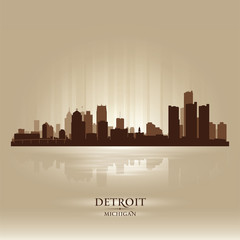 Detroit Michigan city skyline silhouette