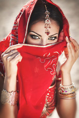Beautiful indian woman in Sari. Arabian bellydancer
