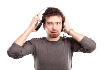 surprised young man in headphone