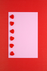 Love card with red hearts