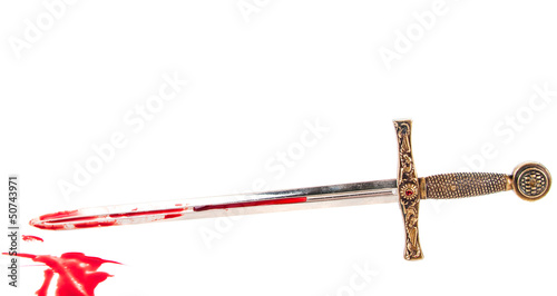 Sword with blood isolated