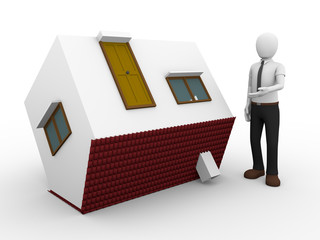 man presenting a flipped house