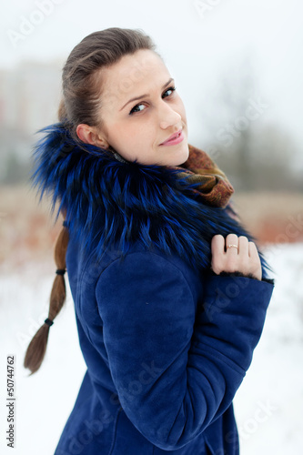 Outdoor winter portrait of  woman