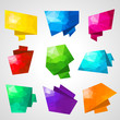 Multicolored speech bubbles with abstract triangular background.