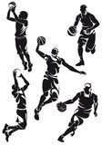 set of basketball players, silhouette