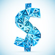 Blue abstract triangles vector dollar symbol