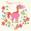 Cartoon floral card with horse