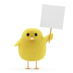 Easter Little Chicken with Blank Board