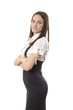 Business lady in black and white suit
