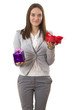 Business woman holding a gift