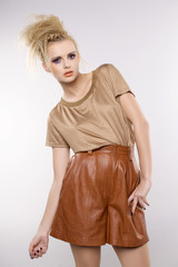 beautiful adult sensuality woman in brown dress