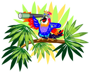 Funny parrot with telescope on palm