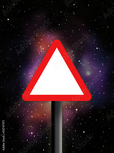Triangle warning sign in space
