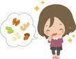 ナッツを食べる若い女性