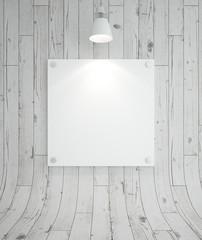 blank cardboard and lamp