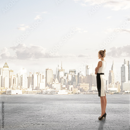 woman looking on city