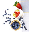 fresh blueberries on a white table