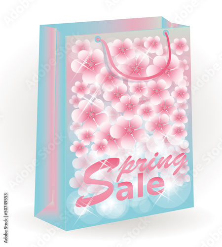 Spring Sale floral shopping bag, vector illustration